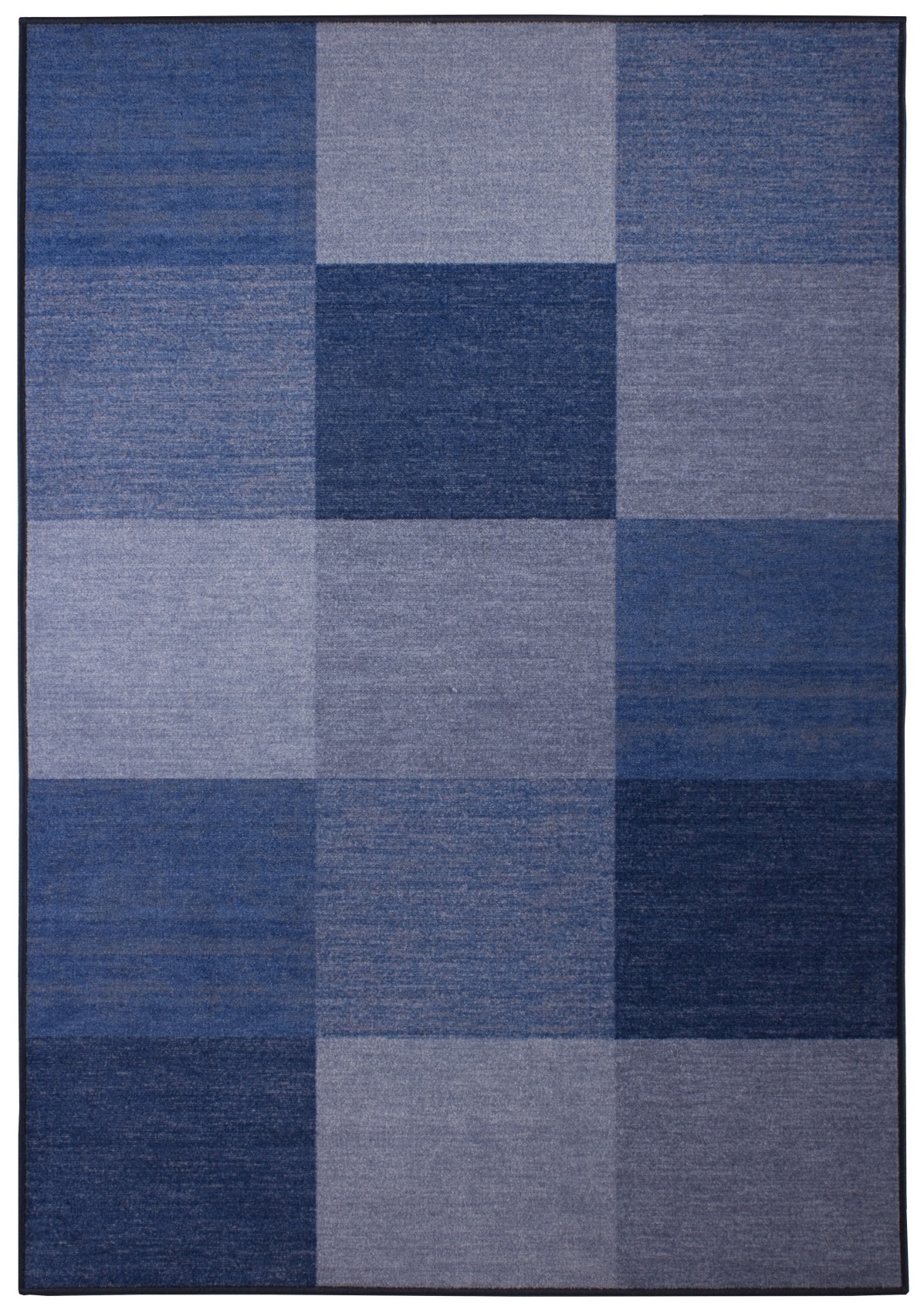 Designer Tuft Teppich Blau Karo Muster Quadrate OekoTex